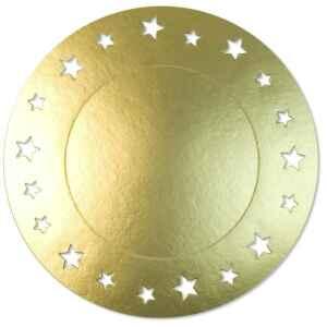 Sottopiatto Piano con stelline Oro Satinato 34 cm 4 Pz Extra
