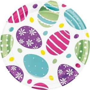 Piatto 18 cm Easter Egg metallizzato 8 pz
