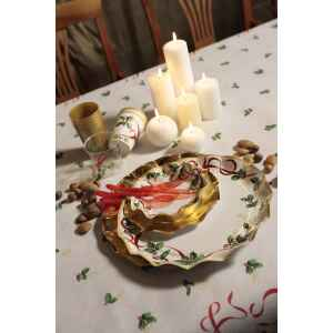 Extra Piatti Piani di Carta a Petalo Natale Ribbon 24 cm