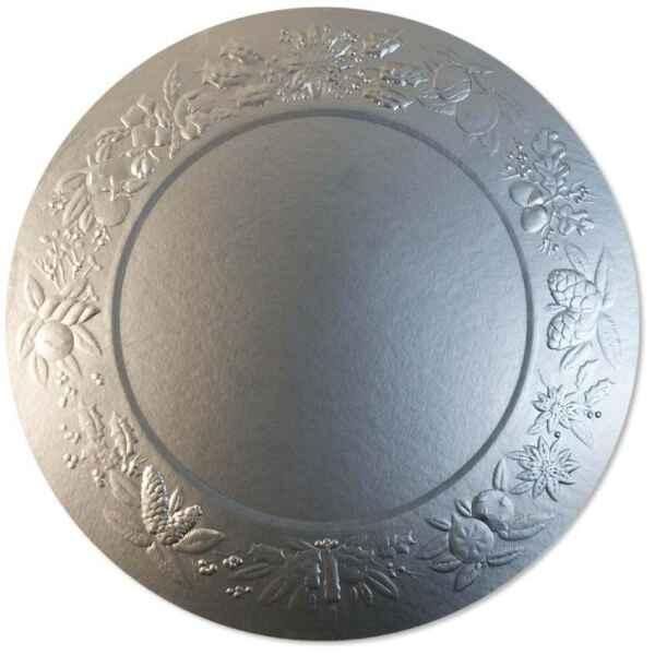 Sottopiatto Piano di Carta a Rilievo Ghirlanda Argento Satinato 34 cm 4 pz Extra