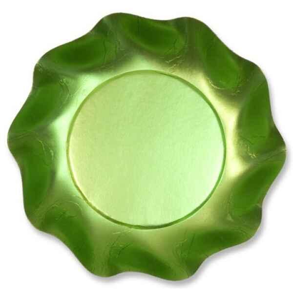 Piatti Fondi di Carta a Petalo Verde Satinato 18,5 cm Extra
