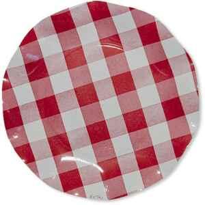 Piatti Piani di Carta a Petalo Vichy a Quadri Bianco Rosso 21 cm Extra