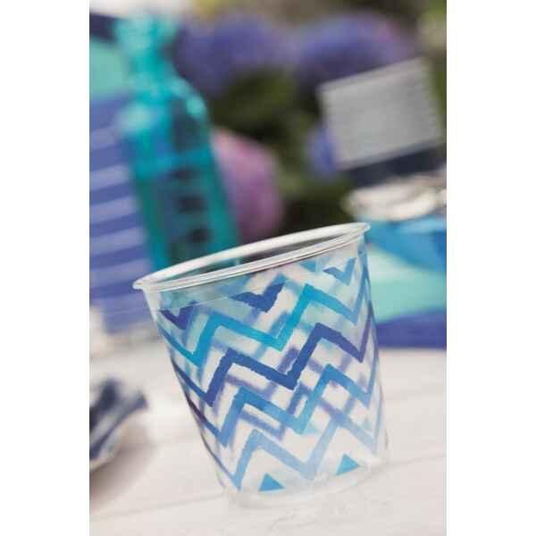 Bicchieri di Plastica Zig Zag Blu 300 cc Extra