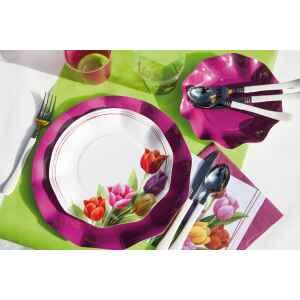 Piatti Piani di Carta a Petalo Tulipani Colorati 21 cm Extra