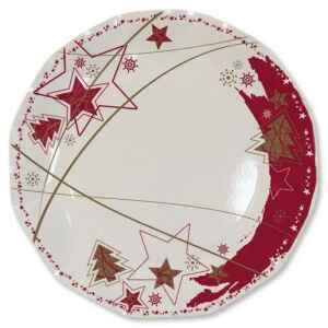 Extra Piatti Piani di Carta a Petalo Stella Rossa 21 cm