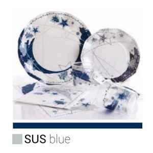 Extra Piatti Piani di Carta a Petalo Stella Blu 21 cm