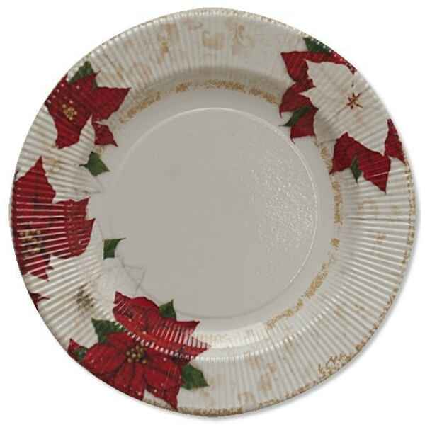 Extra Piatti Piani di Carta a Righe Stella di Natale 21 cm