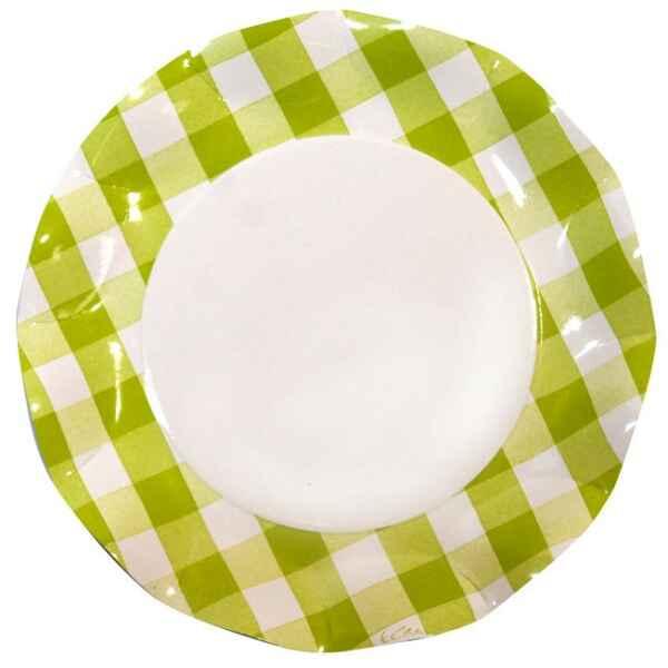 Extra Piatti Piani di Carta Vichy a Quadri Bianco Verde Lime 27 cm