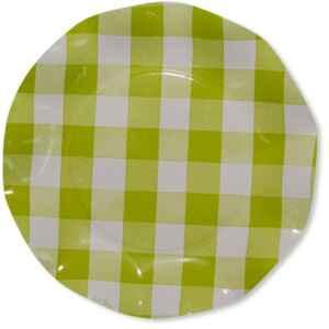 Piatti Piani di Carta Vichy a Quadri Bianco Verde Lime 21 cm Extra