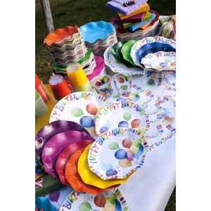 Piatti Piani di Carta a Petalo Happy Birthday 21 cm Extra