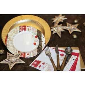 Extra Piatti Piani di Carta a Righe Natale Patchwork 21 cm