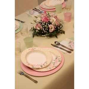 Piatti Piani di Carta a Righe Rose Flower 21 cm Extra