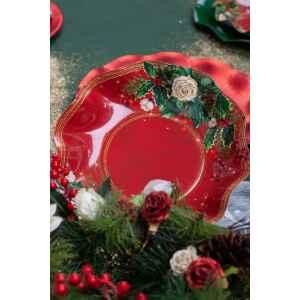 Extra Piatti Piani di Carta a Petalo Elegance Christmas 24 cm