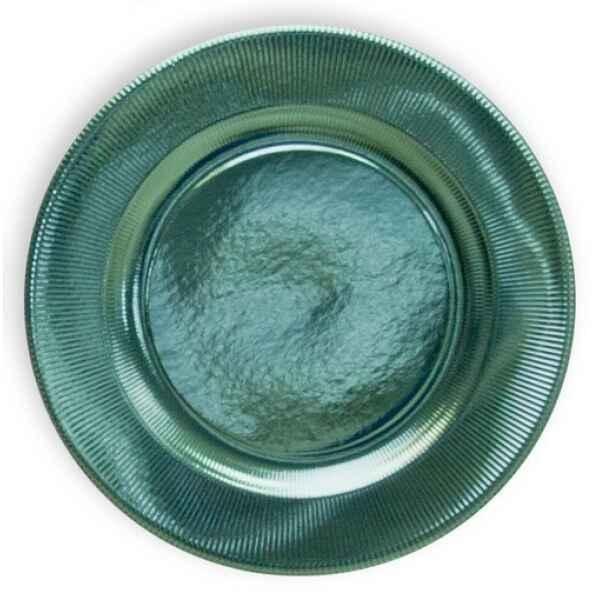 Piatti Piani di Carta a Righe Acquamarina Metallizzato 32,4 cm Extra