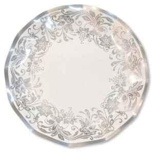 Extra Piatti Piani di Carta a Petalo Noblesse argento 21 cm