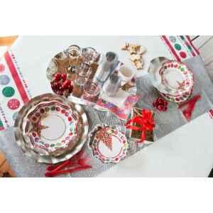 Piatti Fondi di Carta a Petalo Happy Christmas 18,5 cm Extra