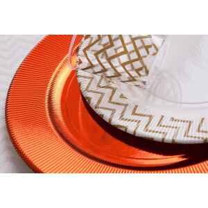Piatti Piani di Carta a Righe Chevron Oro 21 cm Extra