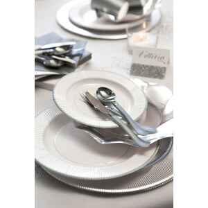 Extra Piatti Piani di Carta a Righe Bordo Argento Classic Silver 21 cm