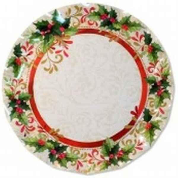 Piatti Piani di Carta a Petalo Tradition Agrifoglio 32,4 cm Extra