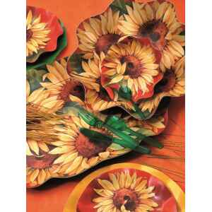 Piatti Piani di Carta a Petalo Girasole 32,4 cm Extra