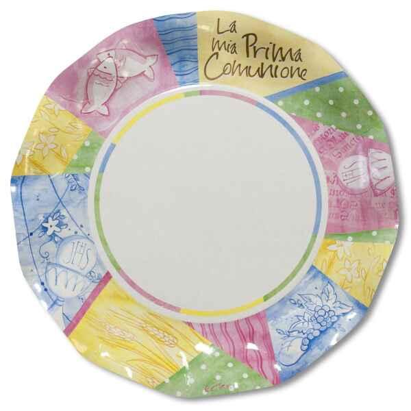Extra Piatti Piani di Carta Comunione Colorata 21 cm
