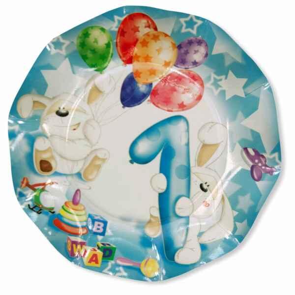Extra Piatti Piani di Carta Primo Compleanno Palloncini Celeste 21 cm