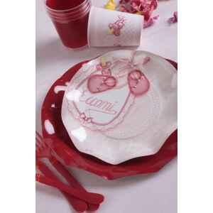Extra Piatti Piani di Carta a Petalo Eccomi Rosa 21 cm