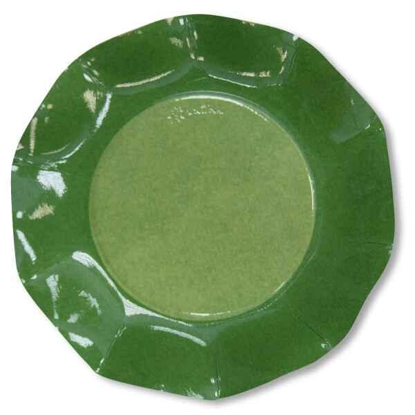 Extra Piatti Piani di Carta a Petalo Bicolore Verde - Verde Scuro 21 cm