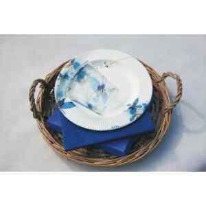Piatti Piani di Carta a Righe Fiore Blu 27 cm Extra