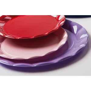 Piatti Piani di Plastica a Petalo Rosa 20 cm 2 confezioni Extra