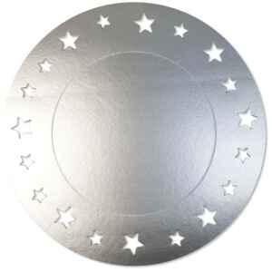 Sottopiatto Piano con stelline Argento Satinato 34 cm 4 Pz Extra