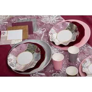 Extra Piatti Piani di Carta a Petalo Rose Gold Christmas 24 cm