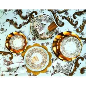 Extra Piatti Fondi di Carta a Petalo Noblesse Oro 24 cm