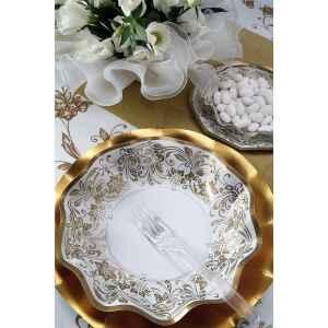 Extra Piatti Piani di Carta a Petalo Noblesse Oro 24 cm