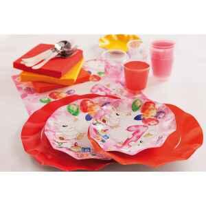 Extra Piatti Piani di Carta Primo Compleanno Palloncini Rosa 21 cm