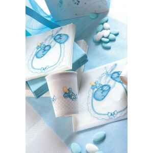 Extra Piatti Piani di Carta a Petalo Baby Celeste 21 cm