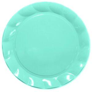 Piatti Piani di Plastica a Petalo Celeste 26 cm 2 confezioni Extra