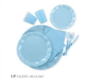 Piatti Piani di Plastica a Petalo Celeste 34 cm 2 confezioni Extra