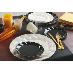 Piatti Piani di Plastica a Petalo Nero 26 cm 2 confezioni Extra