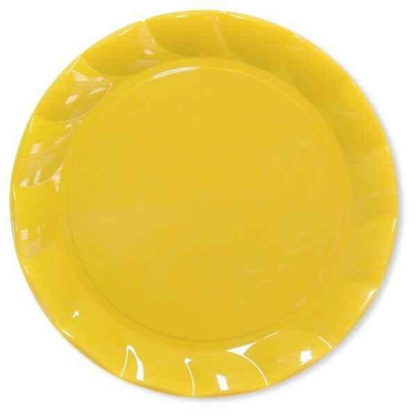 Piatti Piani di Plastica a Petalo Giallo 34 cm 2 confezioni Extra