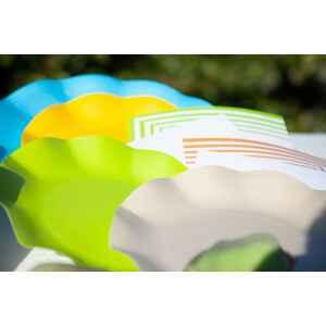 Extra Piatti Piani di Carta Compostabile a Petalo Giallo 21 cm