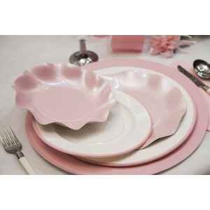 Extra Piatti Piani di Carta a Righe Bordo Rosa Classic Pink 21 cm