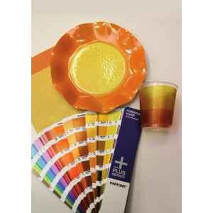 Extra Piatti Piani di Carta a Petalo Bicolore Giallo - Arancione 21 cm