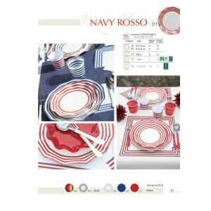 Extra Piatti Piani di Carta a Petalo Navy Rosso 27 cm