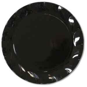 Piatti Piani di Plastica a Petalo Nero 20 cm 2 confezioni Extra