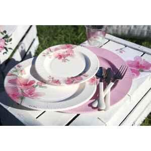 Extra Piatti Piani di Carta a Righe Fiore Rosa 21 cm