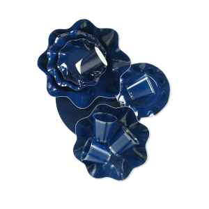 Extra Piatti Piani di Carta a Petalo Blu Notte 24 cm