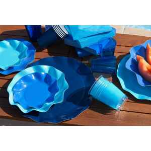 Piatti Piani di Carta a Petalo Blu Notte 32,4 cm Extra