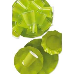 Piatti Fondi di Carta a Petalo Verde Lime 18,5 cm Extra