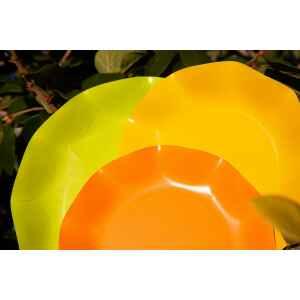 Extra Piatti Piani di Carta Compostabile a Petalo Verde Lime 21 cm
